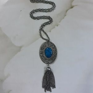 Vintage Turquoise Pendant with Tassels and Necklac